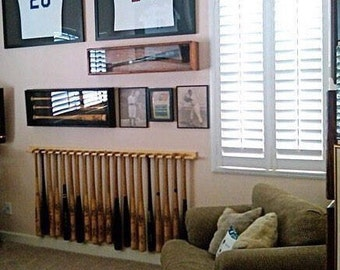 20 bat vertical baseball bat display rack for regular bats (youth through adult size) holds softball bats too
