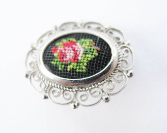 """PETIT POINT Brooche, Red Rose on Black, Silk, Silver-Toned Metal Casing, 1"""" long 7/8"""" wide, Vienna Style,"""