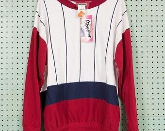 Deadstock 80s Vintage Color Block Crewneck Sweatshirt Size L/XL Pinstripe