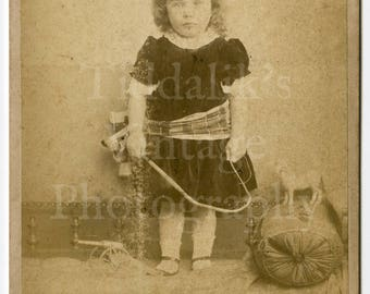 Cabinet Card Photo - Young Victorian Cute Standing Girl with Toy Horse Canon - Abel Lewis of Clifton England