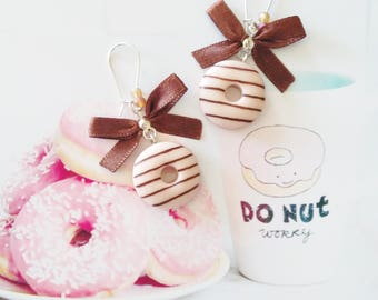 earrings donuts chocolate  polymer clay