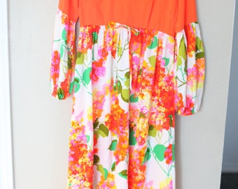 vintage coral orange hawaiian bubble sleeve maxi length floral dress