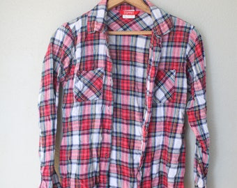 vintage esprit red plaid  flannel button up shirt