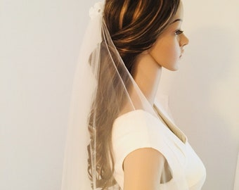 Wedding veil , unblushing veil, rhinestone accents veil