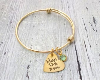 Personalized Gold Bangle Bracelet, Bless This Mess, Personalized Bracelet, Personalized Gold Bangle, Bangle Bracelet, Gold Bracelet