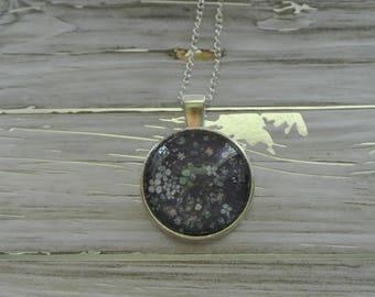 Navy Floral Pendant Necklace