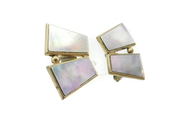 Vintage Deco Abalone Earrings, Clip Ons