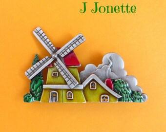 Vintage Pewter Brooch, J Jonette (JJ) Windmill Brooch, Enameled Dutch Windmill Pin, Gift Idea, Gift Box, FREE SHIPPING