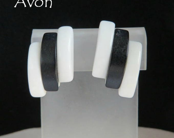 AVON Lucite Earrings Vintage White Blue  Gold Tone Clip ons 1970s Vintage, Gift for Her, Gift Boxed