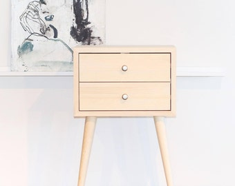 Solid Pine Two Drawer Nightstand Side Table Mid Century Modern End Table  Scandinavian Table With