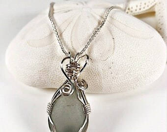 Sea Glass Necklace|seaglass necklace| wire wrapped necklace| gray sea glass necklace|wire wrapped sea glass|beach glass necklace|gift ideas