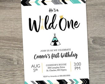 Wild One Birthday Boy Invitation  |  Wild One First Birthday Theme Boy