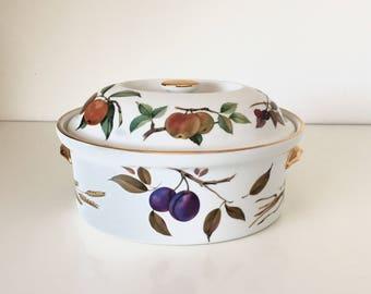 Royal Worcester Evesham Gold Porcelain Covered Casserole Dish