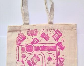 Sew Sew (Magenta) Large Handprinted Gusset Tote Bag