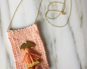 Little Weaved Necklace | Peachy Orange with Two Tassels
