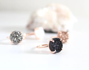 Black Magic Druzy Ring