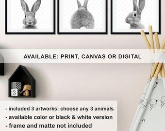 Rabbit nursery decor, Rabbit Nursery print set Black and white, Woodland rabbit baby room decor, Bunny rabbit Kids wall art Print/Canvas/Dig