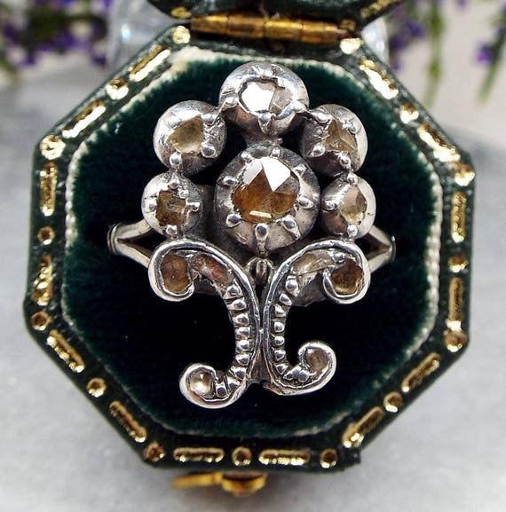 Antique Georgian Platinum and Sterling Silver Rose Cut Diamond Ornate Cluster Ring / Size M