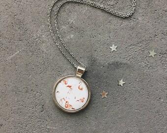 Necklace with pink flamingos, birds pendant by CuteBirdie