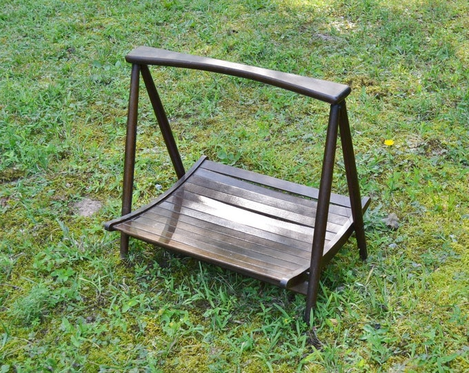 Vintage Wooden Magazine Rack Mid Century Modern Folding Dark Wood Finish Nasco Made in Yugoslavia Panchosporch