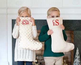Monogrammed Christmas Stocking | Personalized Holiday Stockings for the Whole Family | Burlap--Plaid--Stripes--Polka Dot--Camo Print