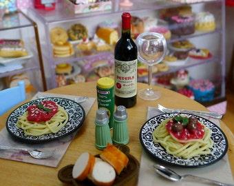 Miniature Spaghetti Bolognese Spaghetti Meatballs Dolls Food 1:6 Scale Pasta Handmade by Nadia Michaux