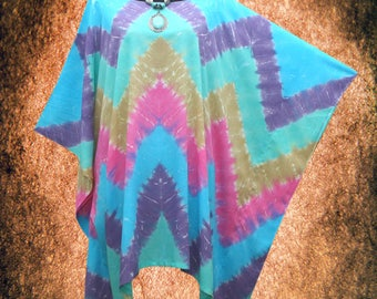 Geometric Wearable Art Hand dyed Beach Cover Up Poncho Top