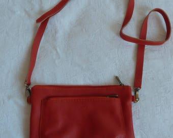"""""""Mara"""" grained leather shoulder bag orange"""
