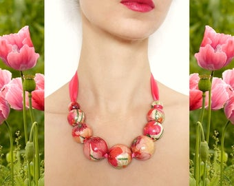 Pink Poppy Flowers Necklace