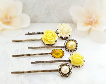 Yellow Bobby Pin Set - Crystal Hairpins - Decorative Hair Pins - Floral Hairpieces Braid Accessory - Rose Flower Pearl Vintage Bobbies H4020
