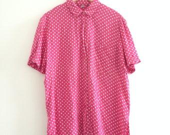 retro pink oversized shirt polkadot 90s 70s grunge baggy retro size M-L