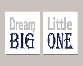 Boy Nursery Decor - Dream Big Little One - Instant Download - Nursery Printable - Navy Gray Nursery Art - Playroom Decor - Nursery Wall Art