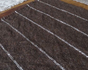 Handwoven Wool Mat - Brown Heather Wool and Ecru Stripes