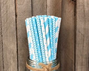100 Light Blue Combo Pack Vintage Paper Straws, Striped Straws, Baby Shower, Easter, Birthday Party, Vintage Striped Straws