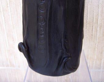 Pot à crayons CUIR  DECO  NOIR  Accessoire bureau  artisan-créateur