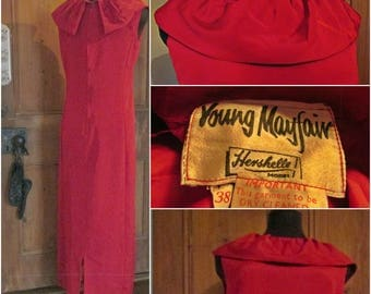 Stunning Vintage  Young MayFair Hershelle Red satin  Cocktail Evening Dress 50s