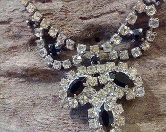 1950S-60S Clear AND Black Rhinestone Chocker Vintage Necklace