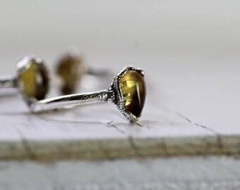 Citrine Ring Silver Ring November Birthstone Polished Stone Electroformed Ring Stacking Ring Ring Silver Ring Gemstone Ring Fine Silver Ring