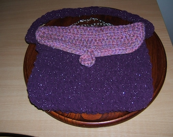 Evening bag, crochet wool sparkling 22cm h x 30 cm wide