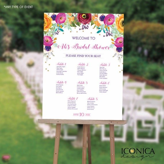 Seating chart board floral bridal shower guest list chart for Bridal shower seating chart template