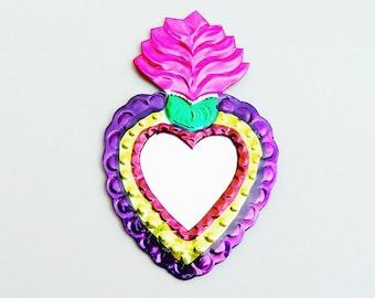 Magenta & Purple Milagro Heart / Mexican Tin Ornament / Mexican Folk Art / Hand Painted Mirror / Flaming Sacred Heart / Oaxaca Handcrafted