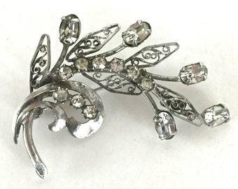 Sterling Silver Floral Rhinestone Brooch Signed CA CARL ART, With Filigree Leaves,