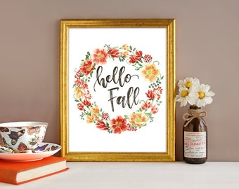 Instant Download - Fall Decor - Autumn Sign - Hello fall sign - Fall decor - Fall signs - Autumn decor - Hello fall print - fall decorations