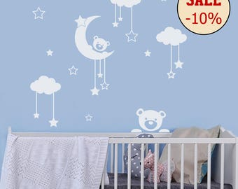 Wall Decal Teddy Bear - Cloud Stickers - Moon And Star Decal - Nursery Decor - Bear Decal - Kids Room Decor - Moon Decals - Crib Decor MM15