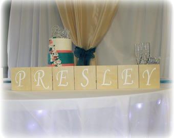 "Wooden Block Wedding Decor (5""x4.5), Wedding Blocks, Custom Wedding Sign, Wedding Wood Sign, Personalized Large Wood Letter, Wedding Decor"