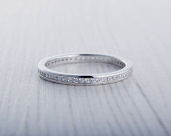 2mm wide lab diamond full eternity ring stacking ring in white gold or titanium - Etsy Wedding Rings
