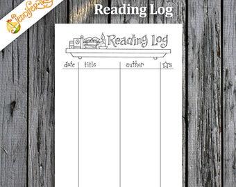 Reading Log / Book List / Instant Download Printable PDF / Bullet Journal / Planner / Coloring