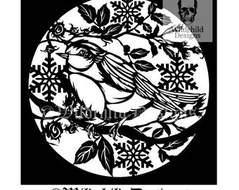Christmas Robin Paper Cutting Template for Personal or Commercial Use Papercut Bird Festive Snowflakes by Wildchild Designs Nature Winter