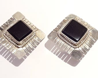 Vintage Mexican Sterling Silver and Onyx Taxco clip-on earrings