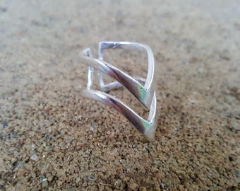 Chevron White Brass Ring, Chevron Ring, Silver Ring, Arrow Ring, Boho Jewelry, Tribal Jewelry, Tribal Ring, Statement Ring